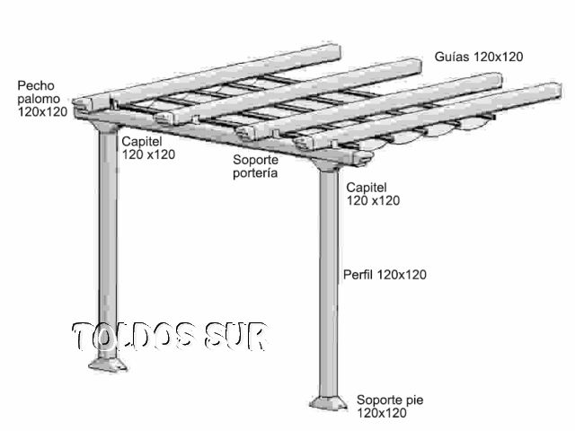 P rgolas de aluminio cl sica techo de lona corredera for Carriles de aluminio para toldos