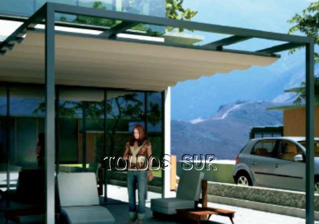 P rgolas de aluminio cl sica techo de lona corredera for Correderas para toldos